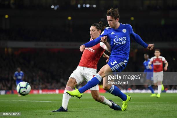 Ben Chilwell of Leicester City scores his sides first goal during the Premier League match between Arsenal FC and Leicester City at Emirates Stadium...