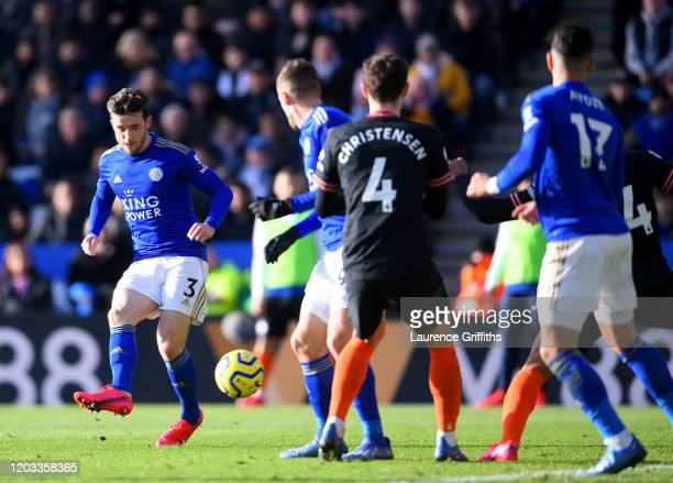 Ben Chilwell of Leicester City scores his team's second goal during the Premier League match between Leicester City and Chelsea FC at The King Power...