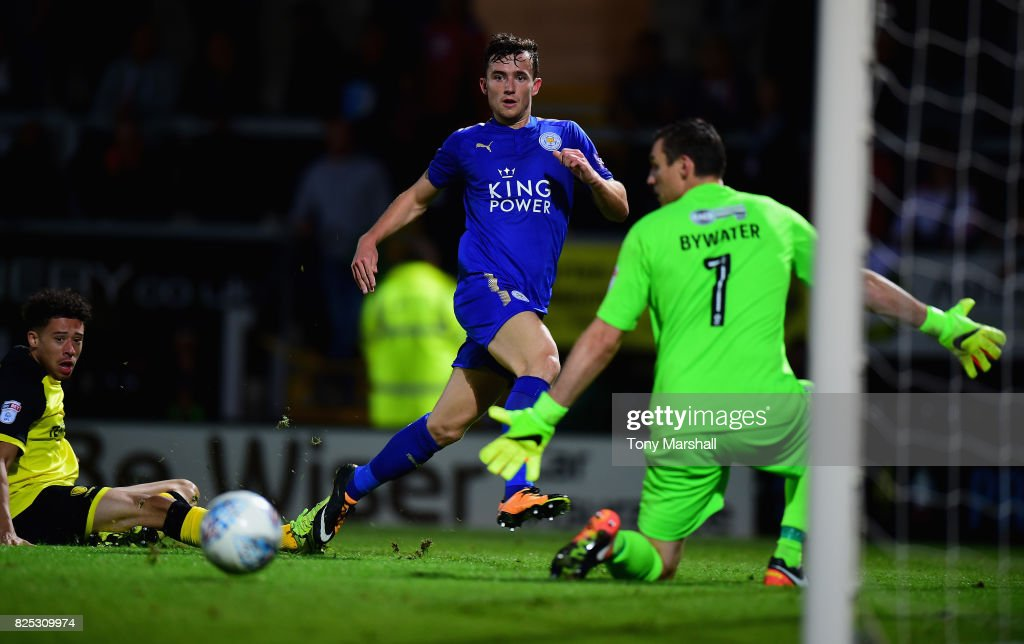 Ben Chilwell of Leicester City shoots wide of Stephen Bywater of Burton Albion during the Pre-Season Friendly match between Burton Albion v Leicester City at Pirelli Stadium on August 1, 2017 in Burton-upon-Trent, England.