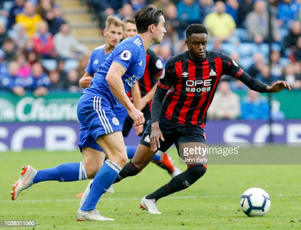 Ben Chilwell of Leicester City takes on Adama Diakhaby of Huddersfield Town during the Premier League match between Leicester City and Huddersfield...