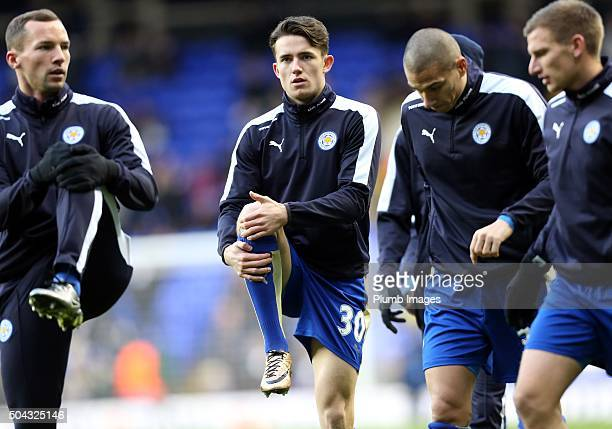Ben Chilwell of Leicester City warms up ahead of the FA Cup third round match between Tottenham Hotspur and Leicester City at White Hart Lane on...