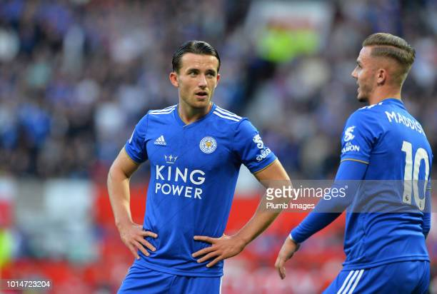 Ben Chilwell of Leicester City with James Maddison during the Premier League match between Manchester United and Leicester City at Old Trafford on...