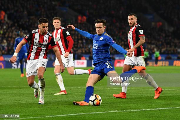 Ben Chilwell of Leicester crosses under pressure from George Baldock and Samir Curruthers of Leicester during The Emirates FA Cup Fifth Round match...