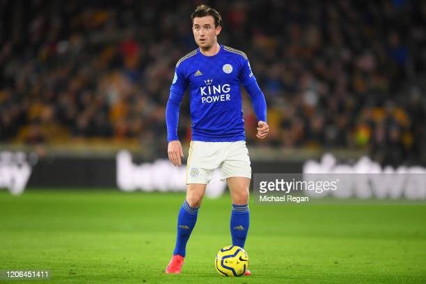 Ben Chilwell of Leicester in action during the Premier League match between Wolverhampton Wanderers and Leicester City at Molineux on February 14,...