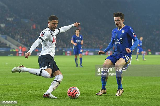 Ben Chilwell of Leicester in action with Kyle Walker of Spurs during the Emirates FA Cup Third Round Replay match between Leicester City and...