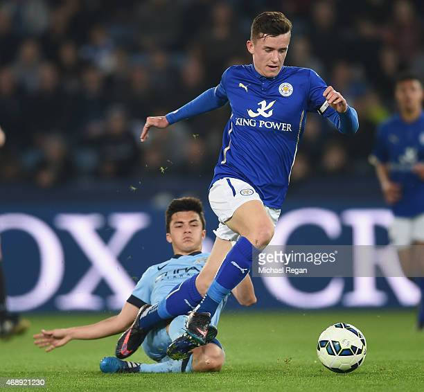 Ben Chilwell of Leicester in action with Manuel Garcia of Manchester City during the FA Youth Cup semifinal second leg between Leicester City and...