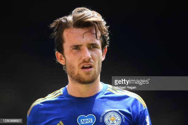 Ben Chilwell of Leicester looks on during the Premier League match between Watford FC and Leicester City at Vicarage Road on June 20, 2020 in...