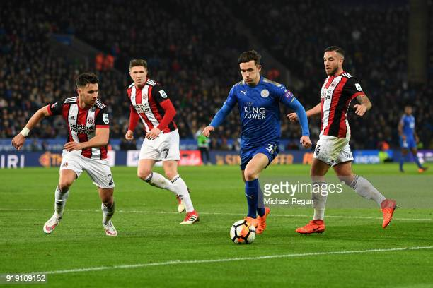 Ben Chilwell of Leicester under pressure from George Baldock and Samir Curruthers of Leicester during The Emirates FA Cup Fifth Round match between...