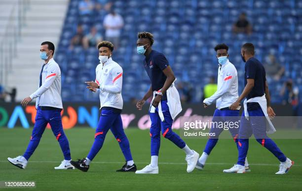 Ben Chilwell, Reece James and Tammy Abraham of Chelsea inspect the pitch prior to the UEFA Champions League Final between Manchester City and Chelsea...