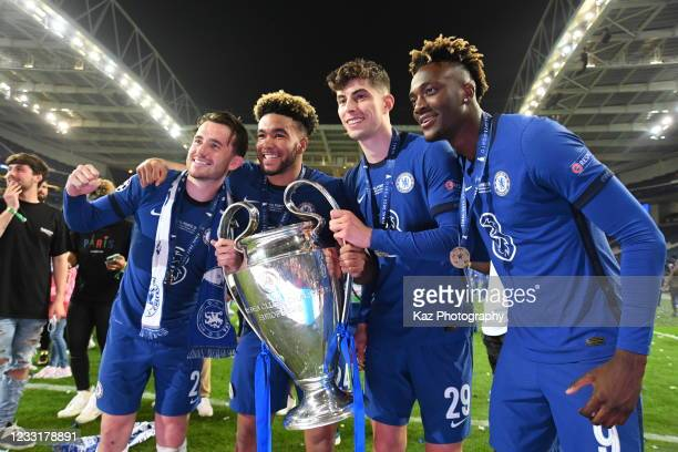 Ben Chilwell, Reece James, Kai Havertz and Tammy Abraham of Chelsea hold the Champions League Trophy during the UEFA Champions League Final between...