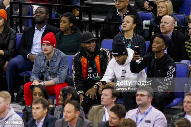 Ben Chilwell Wes Morgan Danny Simpson and Demarai Gray players of Leicester during the NBA game against Washington Wizards and New York Knicks at The...