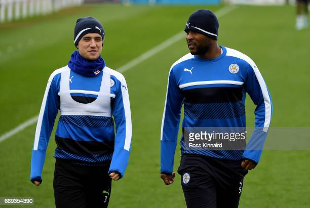 Ben Chinwell and Wes MOrgan arrive for a training session at their Belvoir drive traning centre prior to the Champins League match on April 17 2017...