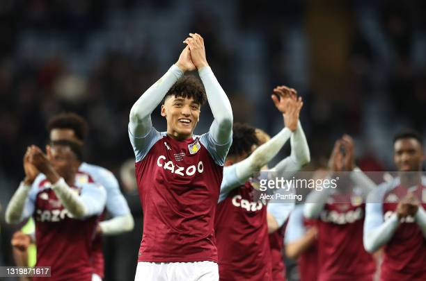 Ben Chrisene of Aston Villa applauds fans during the FA Youth Cup Final between Aston Villa U18 and Liverpool U18 at Villa Park on May 24, 2021 in...