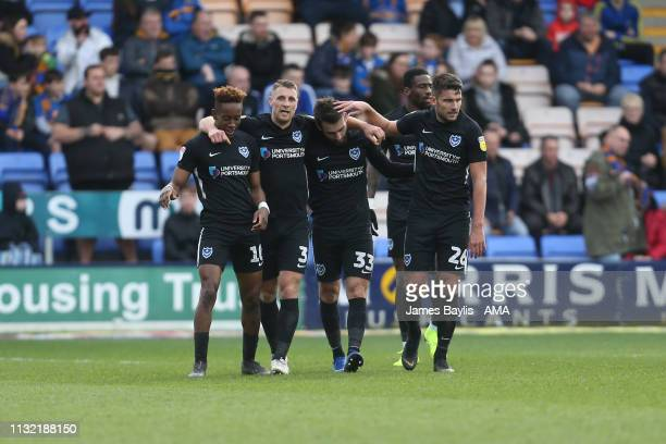 Ben Close of Portsmouth celebrates after scoring a goal to make it 01 during the Sky Bet League One match between Shrewsbury Town and Portsmouth at...