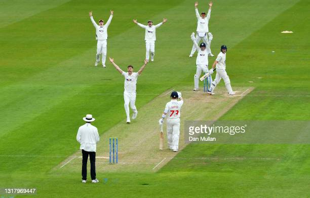 Ben Coad of Yorkshire appeals for the wicket of Marnus Labuschagne of Glamorgan during day two of the LV= County Championship match between Glamorgan...