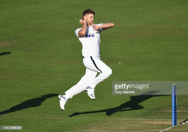 Ben Coad of Yorkshire bowls during the LV= Insurance County Championship match at Trent Bridge on September 23, 2021 in Nottingham, England.