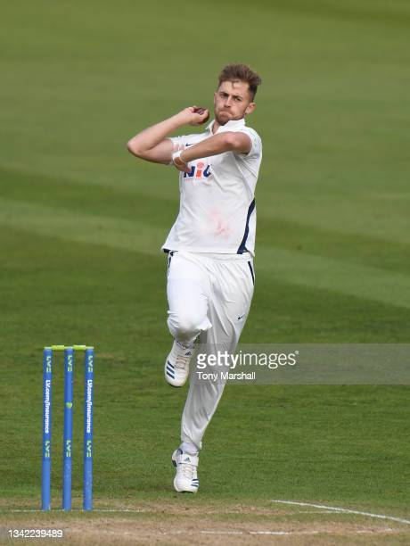 Ben Coad of Yorkshire bowls during the LV= Insurance County Championship match between Nottinghamshire and Yorkshire at Trent Bridge on September 24,...