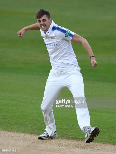 Ben Coad of Yorkshire celebrates dismissing Tim Ambrose of Warwickshire during day three of the Specsavers County Championship Division One match...