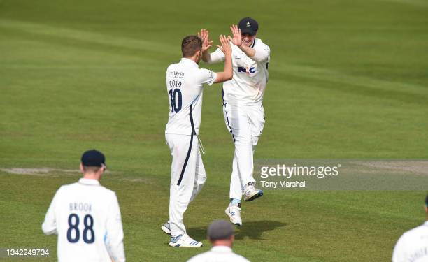 Ben Coad of Yorkshire celebrates taking the wicket of Tom Moores of Nottinghamshire during the LV= Insurance County Championship match between...