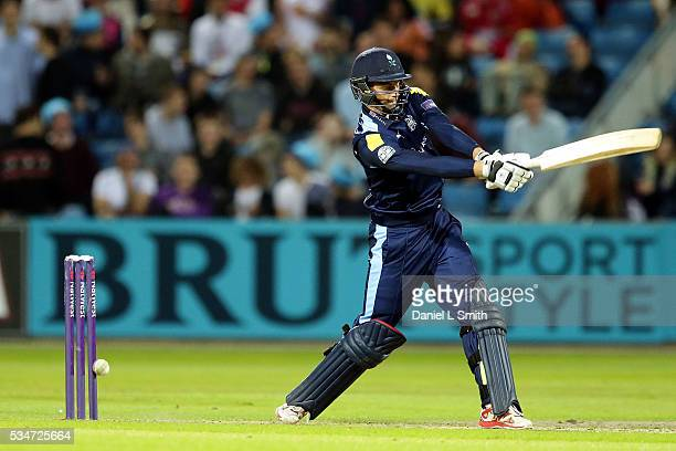 Ben Coad of Yorkshire Vikings is bowled by Ben Raine of Leicestershire Foxes during the NatWest T20 Blast match between Yorkshire and Leicestershire...