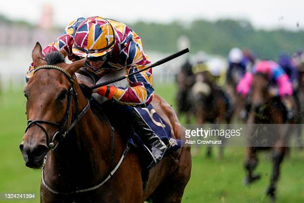Ben Coen riding Create Belief win The Sandringham Stakes on Day Four of the Royal Ascot Meeting at Ascot Racecourse on June 18, 2021 in Ascot,...