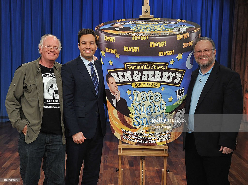 """""""Late Night With Jimmy Fallon"""" 2 Year Anniversary And Press Conference With Ben & Jerry's : News Photo"""