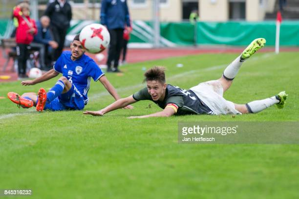 Ben Cohen Shmuel of Israel and Max Brandt of Germany fight for the ball during the 'Four Nations Tournament' match between U17 Germany and U17 Israel...