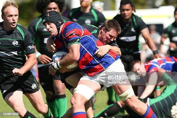 Ben Coman of Buller is tackled during the Lochore Cup Final match between Buller and South Canterbury at Victoria Square on October 28 2012 in...