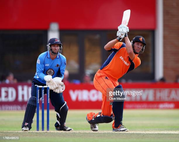 Ben Cooper of the Netherlands in action batting as David Murphy of Northamptonshire looks on during the Yorkshire Bank 40 match between...