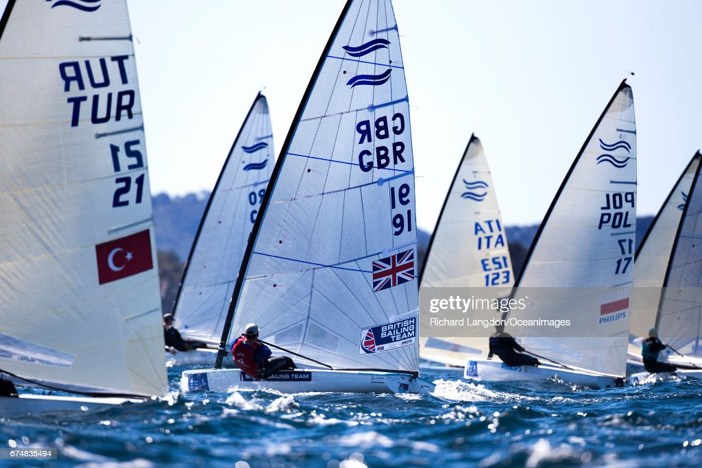 Ben Cornish from the British Sailing Team sails his Finn during the ISAF Sailing World Cup Hyeres on APRIL 29, 2017 in Hyeres, France.
