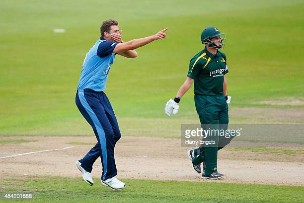 Ben Cotton of Derbyshire celebrates dismissing Steven Mullaney of Nottinghamshire during the Royal London OneDay Cup Quarter Final match between...