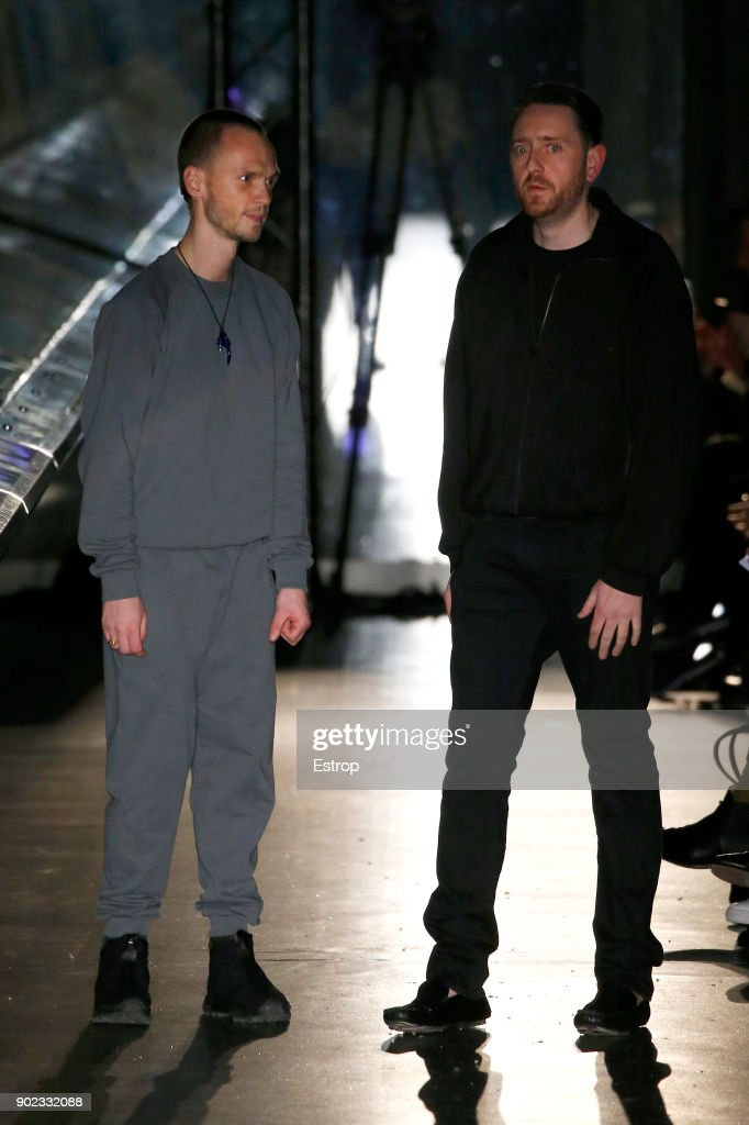 Ben Cottrell & Matthew Dainty at the runway at the Cottweiler show during London Fashion Week Men's January 2018 at Natural History Museum on January 6, 2018 in London, England.