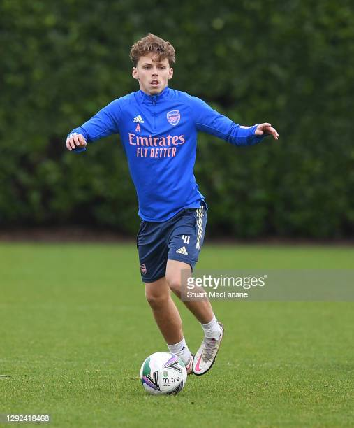 Ben Cottrell of Arsenal during a training session at London Colney on December 21, 2020 in St Albans, England.