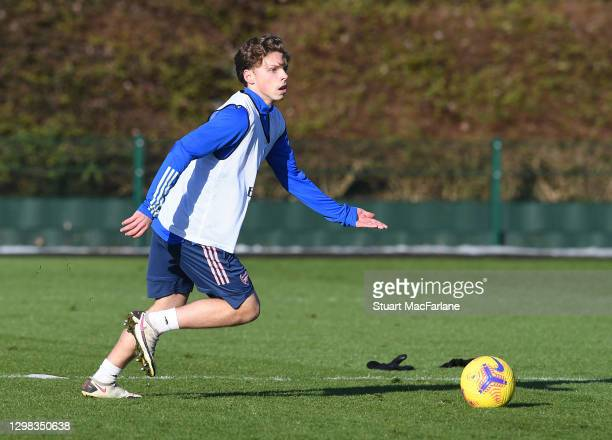 Ben Cottrell of Arsenal during a training session at London Colney on January 25, 2021 in St Albans, England.
