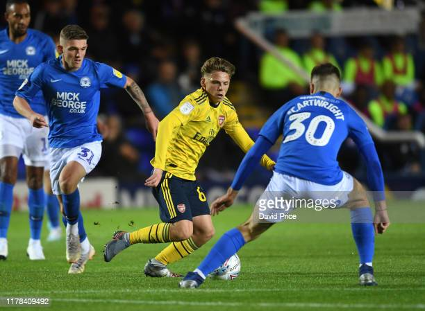 Ben Cottrell of Arsenal during the Leasingcom Cup match between Peterborough United and Arsenal U21 at Weston Homes Stadium on October 01 2019 in...