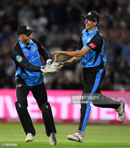 Ben Cox and Pat Brown of Worcestershire celebrate the wicket of Tom Westley of Essex during the Vitality T20 Blast Final match between Worcestershire...