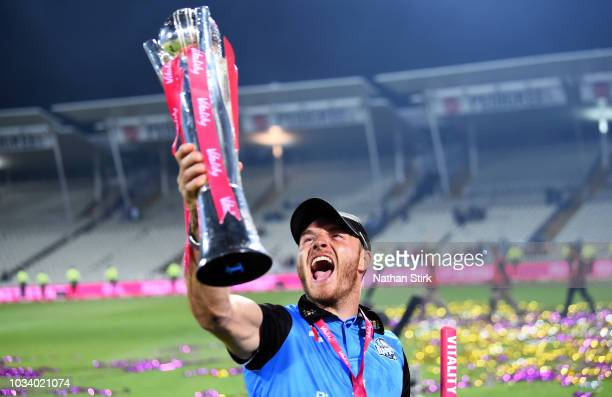 Ben Cox celebrates during the Vitality Blast Final match between Worcestershire Rapids and Sussex Sharks at Edgbaston on September 15 2018 in...