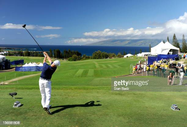 Ben Crane hits a drive on the first hole during the third round of the Hyundai Tournament of Champions at Plantation Course at Kapalua on January 8...