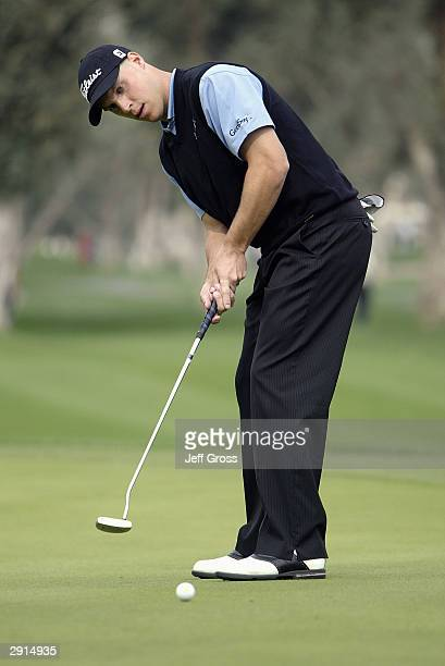 Ben Crane hits a putt during the fourth round of the Bob Hope Chrysler Classic on January 24 2004 at the Indian Wells Country Club in Indian Wells...