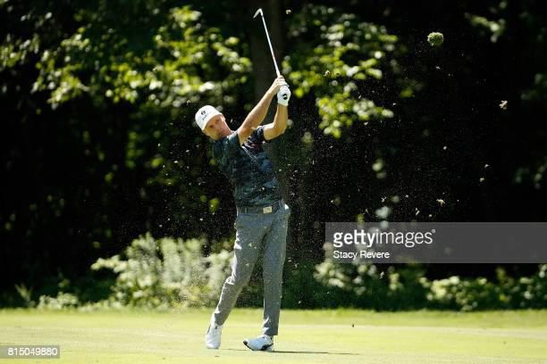 Ben Crane hits his approach shot on the sixth hole during the third round of the John Deere Classic at TPC Deere Run on July 15 2017 in Silvis...