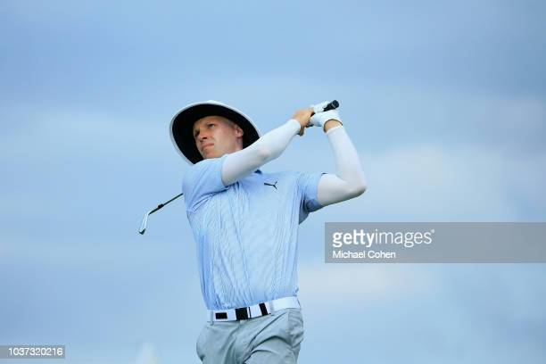 Cameron Tringale tests the wind during the second round of the Webcom Tour Championship held at Atlantic Beach Country Club on September 21 2018 in...
