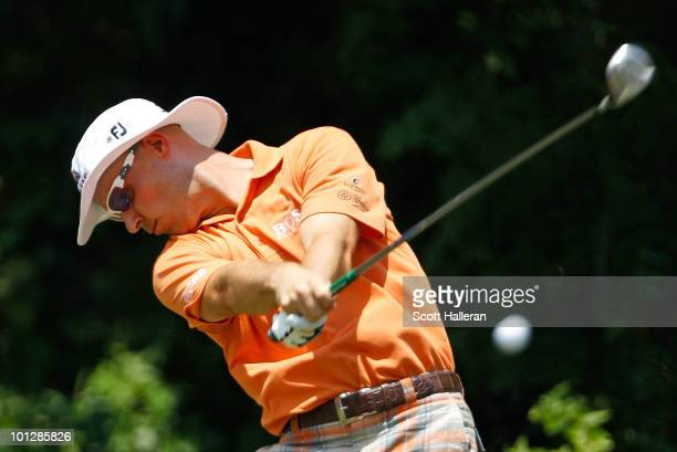 Ben Crane hits his tee shot on the sixth hole during the final round of the 2010 Crowne Plaza Invitational at the Colonial Country Club on May 30...
