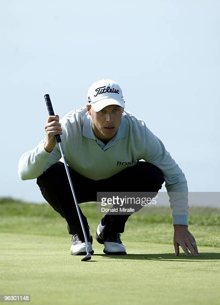 Ben Crane lines up a putt on the fourth hole during the final round of the 2010 Farmers Insurance Open on January 31 2010 at Torrey Pines Golf Course...
