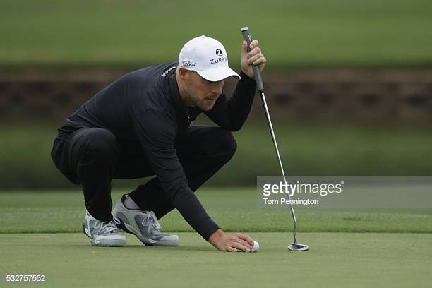 Ben Crane of the United States lines up a putt on the 14th hole during Round One of the ATT Byron Nelson on May 19 2016 in Irving Texas