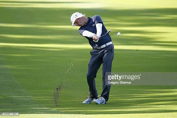 Ben Crane of the United States plays his shot from the 12th fairway during the first round of the OHL Classic at Mayakoba on November 10 2016 in...