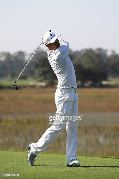 Ben Crane of the United States plays his tee shot on the 3rd hole during the first round of the RSM Classic at Sea Island Resort Seaside Course on...