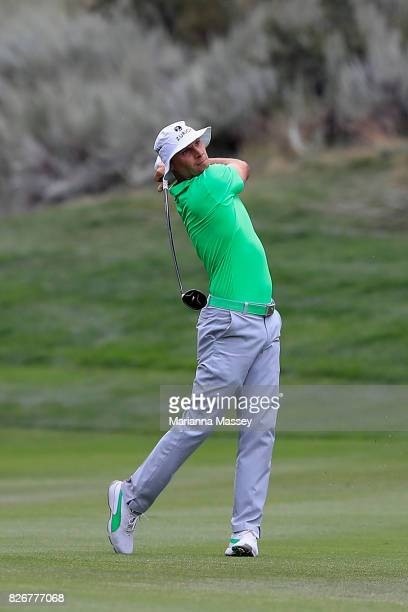 Ben Crane plays his second shot on the 18th hole during the third round of the Barracuda Championship at Montreux Country Club on August 5 2017 in...
