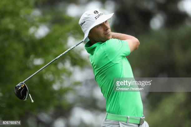 Ben Crane plays his shot from the sixth tee during the third round of the Barracuda Championship at Montreux Country Club on August 5 2017 in Reno...