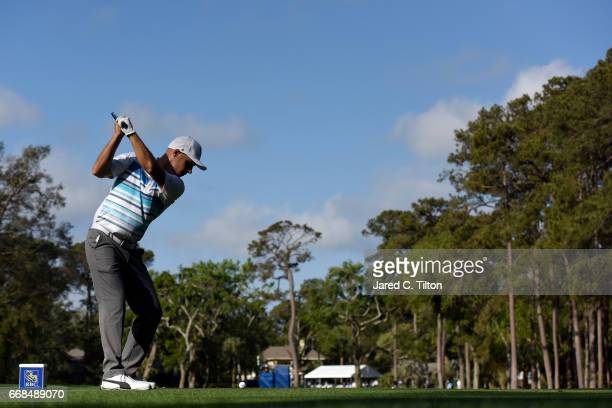 Ben Crane plays his tee shot on the seventh hole during the second round of the 2017 RBC Heritage at Harbour Town Golf Links on April 14, 2017 in...
