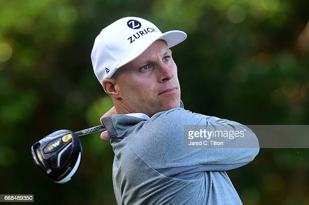 Ben Crane plays his tee shot on the sixth hole during the second round of the 2017 RBC Heritage at Harbour Town Golf Links on April 14 2017 in Hilton...